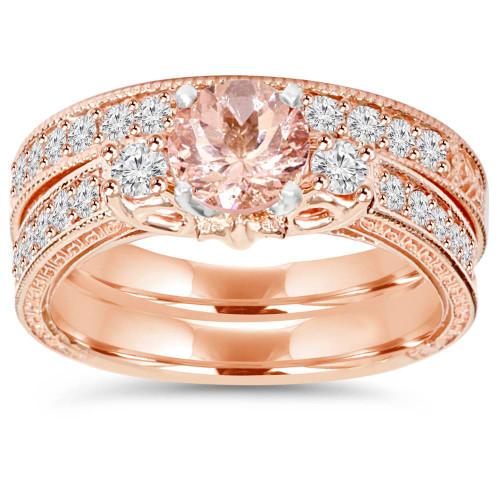 1 1/2CT Vintage Diamond & Morganite Engagement Wedding Ring Set 14K Rose Gold (H/I, I1-I2)