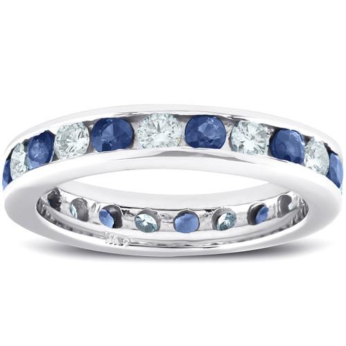 2ct Blue Sapphire & Diamond Channel Set Eternity Ring 14K White Gold (G/H, I1)