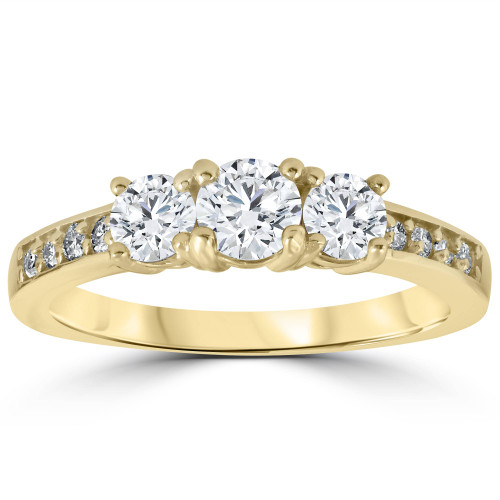 1 1/2 cttw Diamond 3-Stone Engagement Anniversary Ring 14k Yellow Gold (G/H, I1-I2)