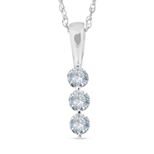 1/4ct 3 Stone Round Three Diamond Pendant Necklace 14K White Gold (G-H, I2)