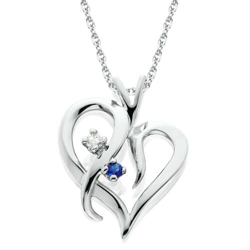 "Blue Sapphire & Diamond Heart Pendant 14 KT White Gold With 18"" Chain (G/H, I2)"