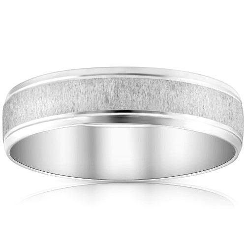 Mens 6mm 14K White Gold Comfort Fit Wedding Band Ring