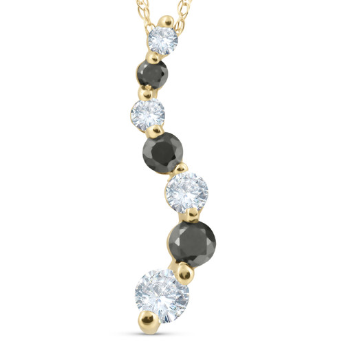 1/2ct Black & White Diamond Journey Pendant Yellow Gold (G/H, SI)