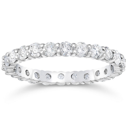 1 1/2 Ct Diamond Eternity Ring Women's Stackable 14k White Gold Band Lab Grown (((G-H)), SI(1)-SI(2))