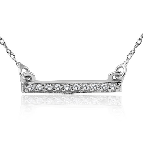 1/16ct Diamond Bar Pendant Necklace 14K White Gold (G/H, I2)