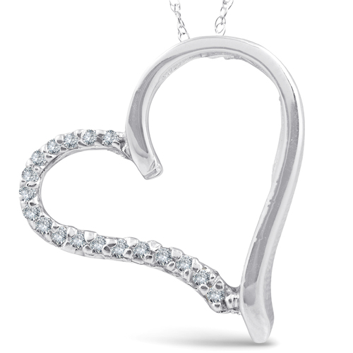Diamond Heart Shape Pendant Necklace White Gold (G/H, I1)