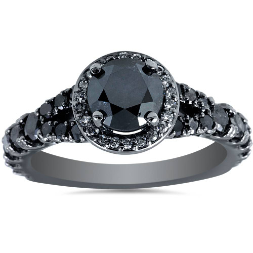 1 3/8ct Treated Black Diamond Split Shank Halo Engagement Ring 14K White Gold (G/H, I1-I2)