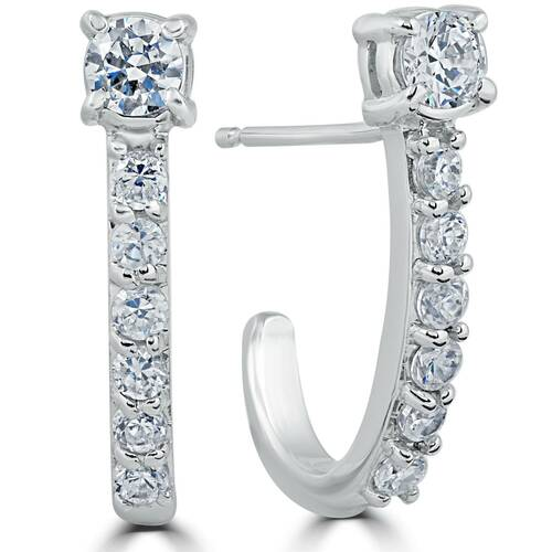 "1 cttw Diamond Hoops 14k White Gold 3/4"" Tall (H, I2)"