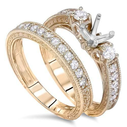 7/8ct Vintage Engagement Ring Mount Set 14K Yellow Gold (G/H, VS2)