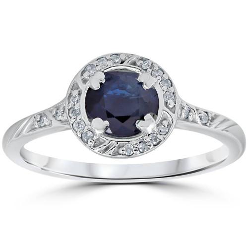 1 1/6ct Blue Sapphire Vintage Diamond Engagement Ring 14K White Gold (G/H, I1)