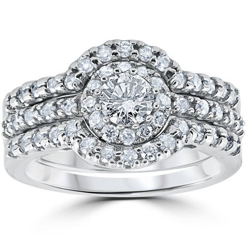 1 1/10Ct Round Cut Diamond Trio Engagement Guard Wedding Ring Set White Gold (H/I, I2-I3)