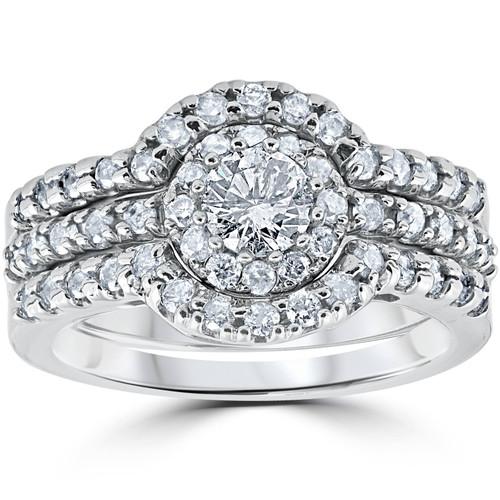 1 1/10Ct Round Cut Diamond Trio Engagement Guard Wedding Ring Set White Gold (H/I, I2-I3)