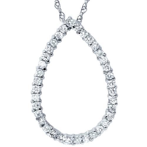 "1ct Pear Shape Diamond Pendant 14k White Gold 18"" Chain (G/H, I1)"
