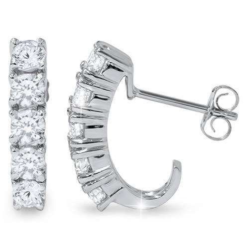 1 3/4ct Diamond Hoops 14K White Gold (G/H, I1)