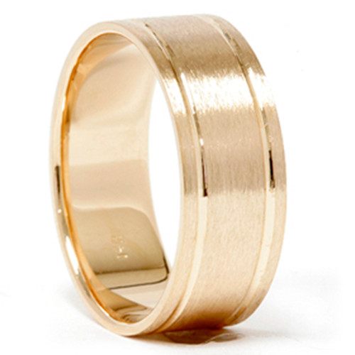 14K Yellow Gold 8MM Comfort Fit Brushed Mens Wedding Band