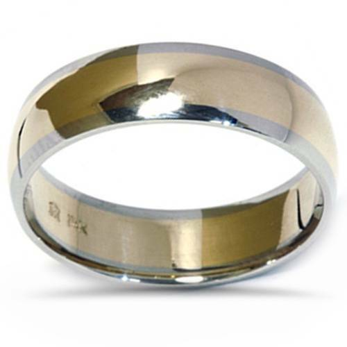 Mens 14K Gold Two Tone Comfort Fit Plain Wedding Band
