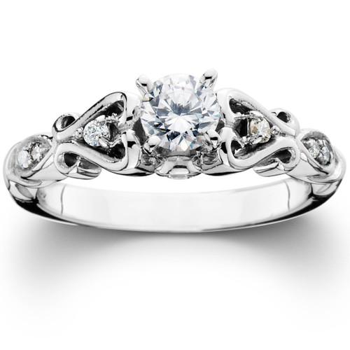3/8CT Vintage Diamond Engagement Ring 14K White Gold (H/I, I1-I2)