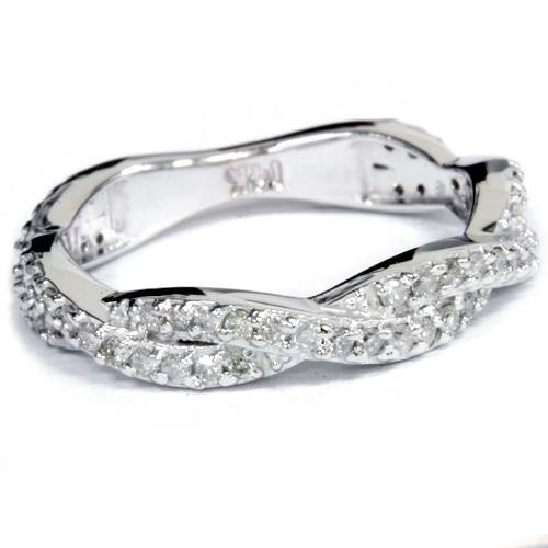 .40CT Natural Diamond Infinity Ring 14K White Gold Size 5 (G/H, I1)