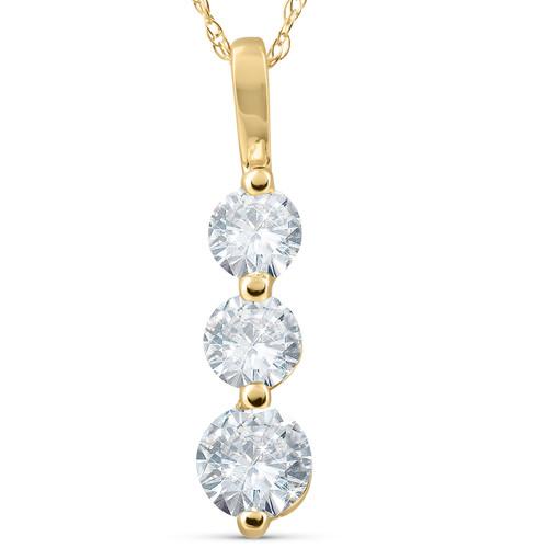 1ct Three Stone Past Present Future Diamond Pendant 14k yellow gold (G/H, I1)