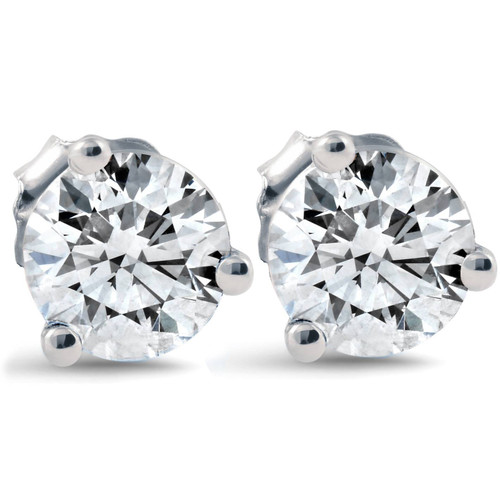 1 ct Round Diamond Studs 14k White Gold Clarity Enhanced (F, VS(2)-SI(1))