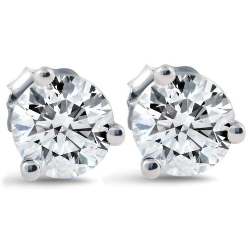 1 ct Round Diamond Studs 14k White Gold Clarity Enhanced (F, VS(2)-SI(1))