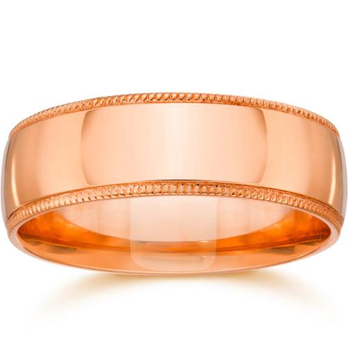 6mm Milgrain 14K Rose Gold Polished Wedding Band