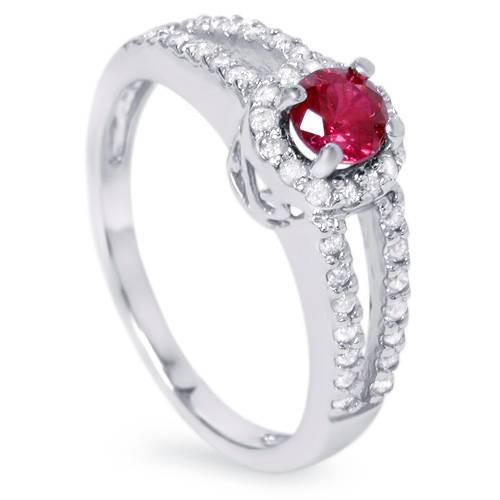 3/4ct Ruby & Diamond Split Shank Ring 14K White Gold (G/H, I2-I3)