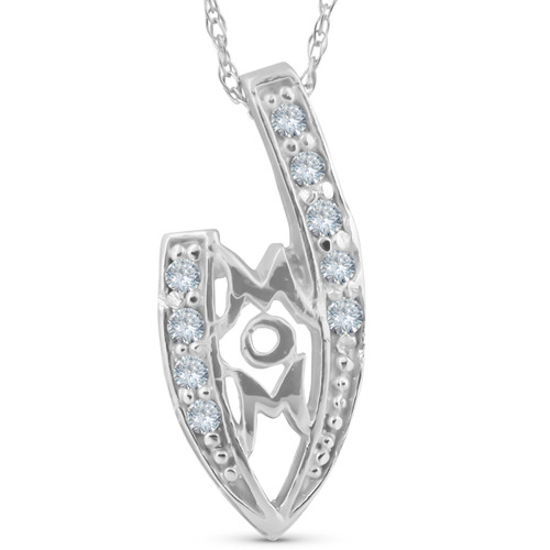 1/10ct Diamond MOM Love Pendant Necklace 14k White Gold (G/H, I2)