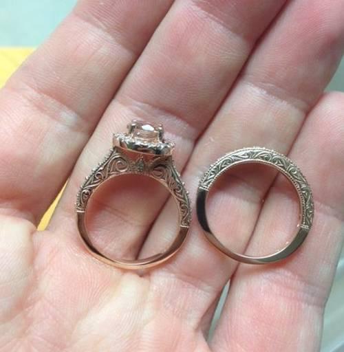 1 7 8ct Vintage Morganite Diamond Engagement Wedding Ring Set 14k