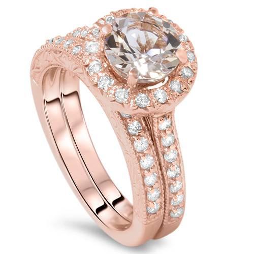 1 7/8CT Vintage Morganite & Diamond Engagement Wedding Ring Set 14K Rose Gold (G/H, I1)