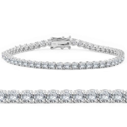 4ct Diamond Tennis Bracelet 14K White Gold (G-H, SI)