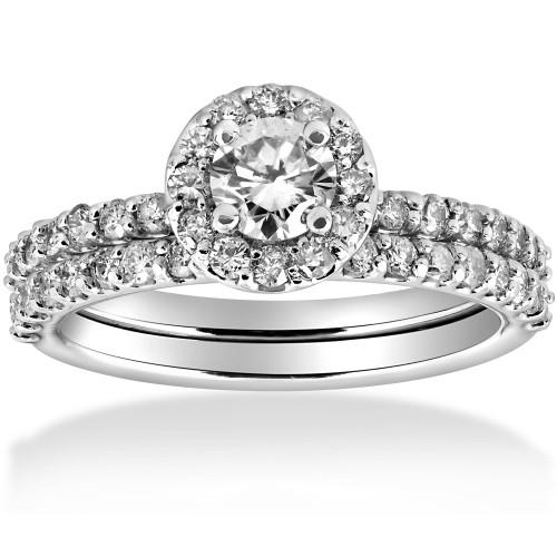 1 cttw Diamond Round Halo Engagement Wedding Ring Set 14k White Gold (H/I, I1-I2)