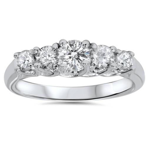1ct Graduated Five Stone Diamond Ring 14K White Gold (I/J, I2)