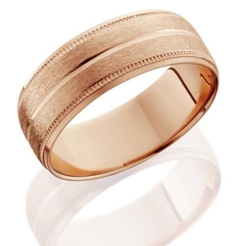 14K Rose Gold Mens Brushed Milgrain Beveled Wedding Band 8mm