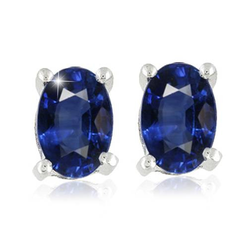 1 1/4ct Oval Blue Sapphire Studs 14K White Gold