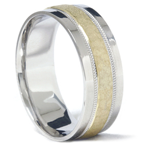 Mens 950 Platinum & 18K Gold Hammered Wedding Band Ring