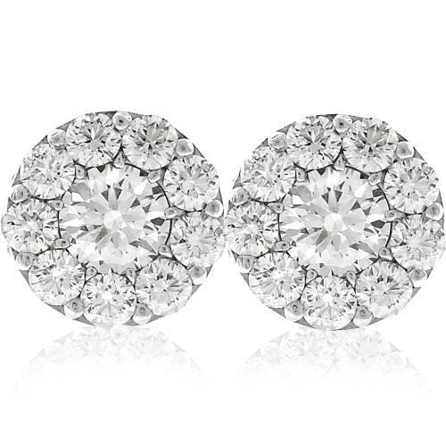 3ct Halo Diamond Studs 14K White Gold (G-H, I1-I2)