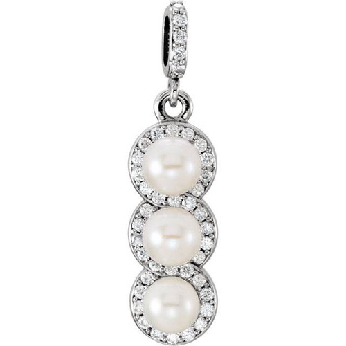 1/4ct Diamond 3 Pearl Pendant Halo 14K White Gold (G, SI1)