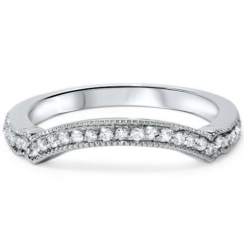 1/6ct Curved Diamond Wedding Band 950 Platinum (G/H, SI1-SI2)