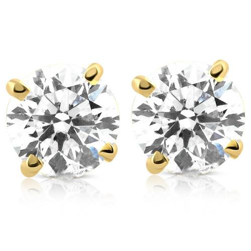 4 cttw Round Diamond Screw Back Studs 14K Yellow Gold (H-I, I2)