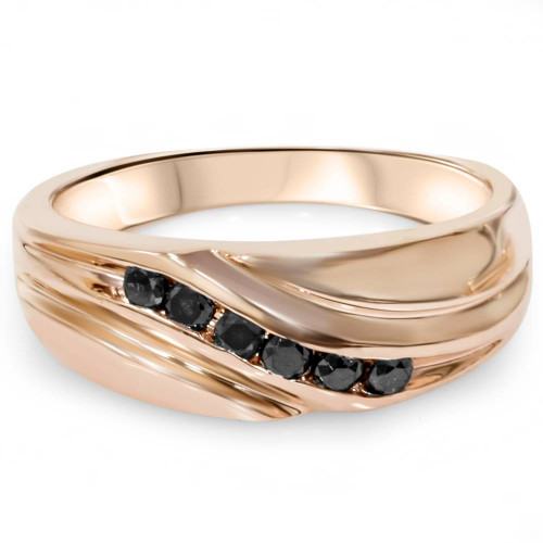 1/4ct Black Diamond Mens 14K Rose Gold Wedding Ring (Black, AAA)