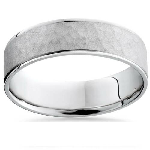 Mens 950 Platinum Beveled Hammered Wedding Band Ring