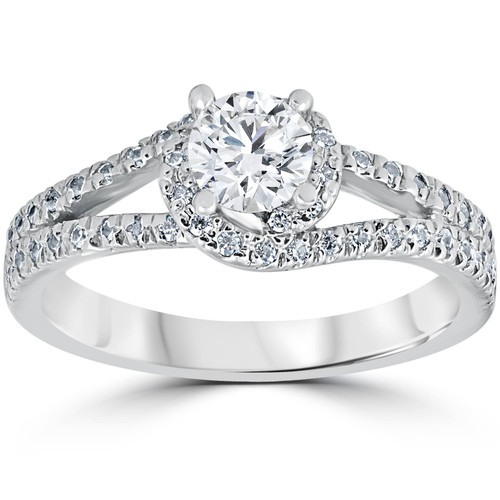 1 1/6ct Twist Diamond Engagement Ring 14K White Gold (G/H, I1-I2)