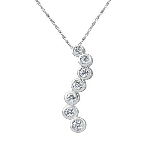 "1 1/2 cttw Diamond Bezel Journey Pendant Necklace 18"" Chain 14k White Gold (G, VS2)"