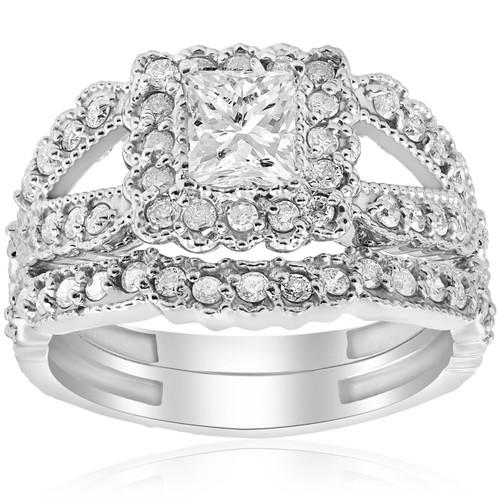 1 1/10ct Princess Cut Halo Diamond Engagement Ring 14K White Gold Vintage Antique (G/H, I1-I2)