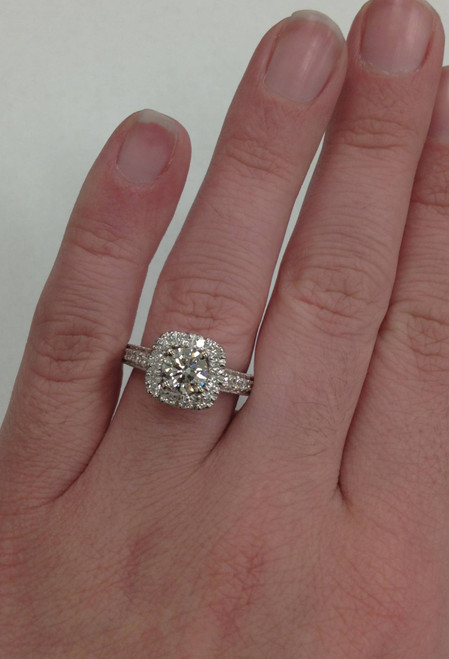 1 1/2ct Cushion Diamond Vintage Halo Engagement Ring 14K White Gold (G/H, SI1-SI2)