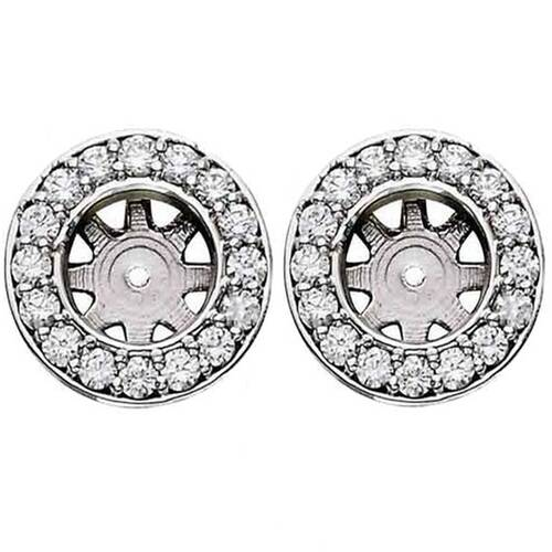 3/4ct Halo Round Diamond Studs Earring Jackets White Gold (6-6.5mm) (G-H, I1)