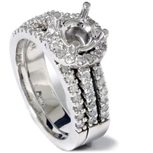 7/8ct Diamond Halo Matching Engagement Ring Setting 14K (G/H, I1)