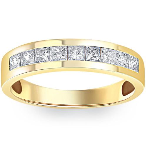 1ct Princess Cut Diamond Wedding Mens 14k Gold Ring (H/I, SI2)