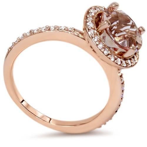 1 3/4 Carat Morganite & Diamond Halo Engagement Wedding Ring Set 14K Rose Gold (H/I, I1)